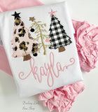 O Christmas Tree shirt or bodysuit for girls - pink, gold, black leopard print Christmas trees - Darling Little Bow Shop