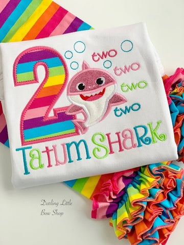 Baby Shark 2nd Birthday TWO TWO Shirt or bodysuit for girls in rainbow colors - Darling Little Bow Shop