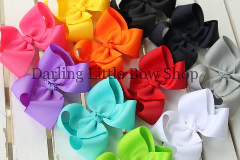 Basic Boutique Hairbow - Many colors options, Made In The USA - headband option available - Darling Little Bow Shop