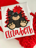 Girls Black Bear shirt or bodysuit for girls - red and black buffalo plaid trees - Darling Little Bow Shop