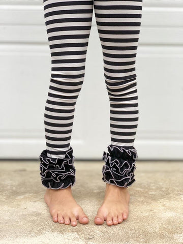 Gray and Black Halloween Ruffle Leggings - BOOtique leggings - Darling Little Bow Shop