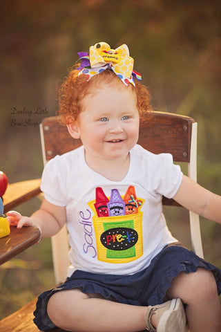 Girls School Shirt - Crayon Shirt - The Future is Bright - Darling Little Bow Shop