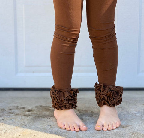 Brown Ruffle Leggings - Chocolate Icings Ruffle Leggings - Darling Little Bow Shop