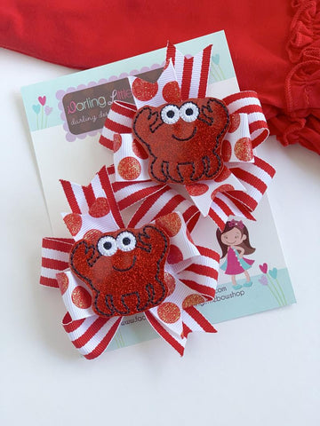 Crab hairbows, crab theme pigtail bows in red and white - Darling Little Bow Shop