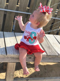 Crab shirt, tank top or bodysuit for girls in red and aqua - Darling Little Bow Shop