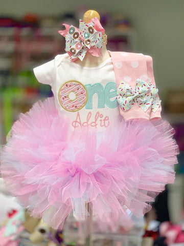Donut 1st Birthday Tutu Outfit - Baby Girl Donut Birthday Outfit Sweet ONE - Made in USA - Darling Little Bow Shop