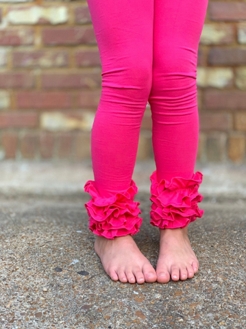Hot Pink Ruffle Leggings - Hot Pink Icings - gorgeous knit ruffle leggings - size NB to 10 - Darling Little Bow Shop