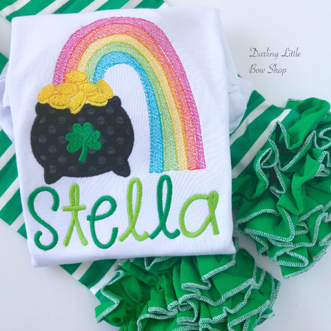 Rainbow Pot of Gold Shirt or bodysuit for girls - Darling Little Bow Shop