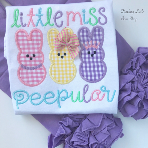 Little Miss Peepular shirt or bodysuit for girls - Easter Peep shirt - Darling Little Bow Shop