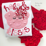Hogs and Kisses shirt or bodysuit for girls - red and pink pig valentine top - Darling Little Bow Shop