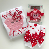 Valentine Bows -- Hogs & Kisses pig hairbows, Pigtail Bow Set for Valentines Day - Darling Little Bow Shop