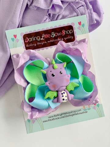 Dragon Hairbow - lavender and lime green baby dragon bow - Darling Little Bow Shop