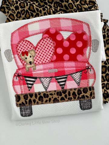 Valentine Cruisin' shirt or bodysuit for girls - cute car and pup with leopard print - Darling Little Bow Shop
