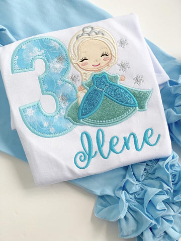 Elsa Birthday bodysuit or shirt for girls - ANY AGE - Darling Little Bow Shop