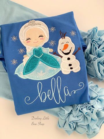 Elsa and Olaf blue shirt for girls - Darling Little Bow Shop