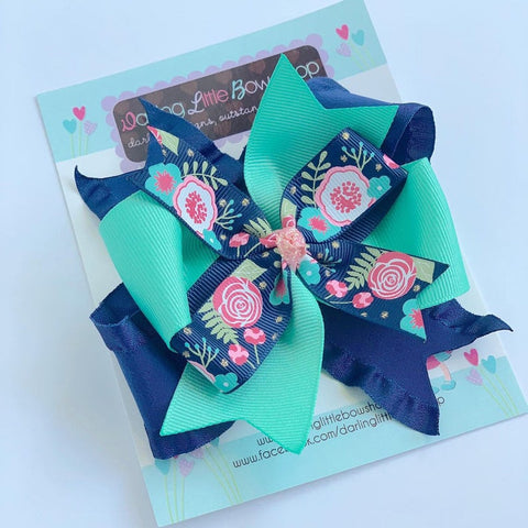 "Navy Floral Bow - 4-5"" navy layered bow - Darling Little Bow Shop"