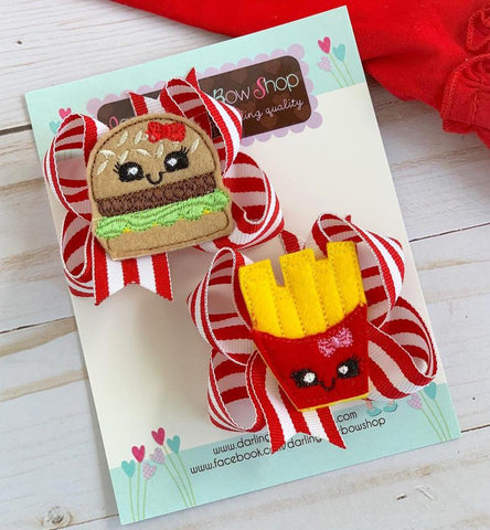 Fries before Guys hairbows, Burger and Fries pigtail bows - Darling Little Bow Shop