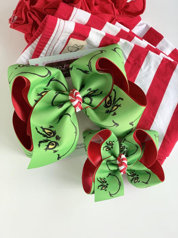 "Grinch hairbow - choose 4-5"" or 7"" size - Darling Little Bow Shop"
