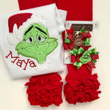 Girls Grinch face shirt or bodysuit for girls - red and green mean one - Darling Little Bow Shop