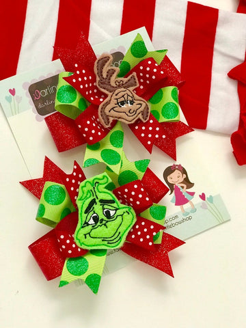 Grinch and Max pigtail bows - Darling Little Bow Shop