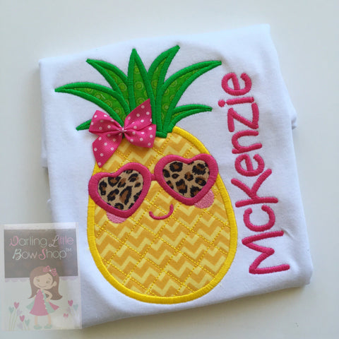 Pineapple shirt, tank top or bodysuit for girls - Pineapple of My Eye - with leopard print sunglasses size NB to girls 12 - Darling Little Bow Shop