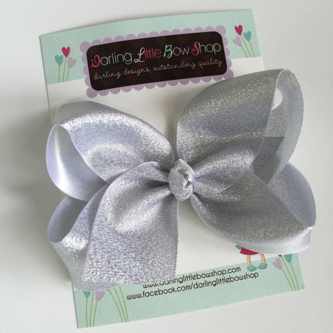 "Silver Bow -- Beautiful shimmering silver hairbow -- 4"" or 5"" bow - Darling Little Bow Shop"