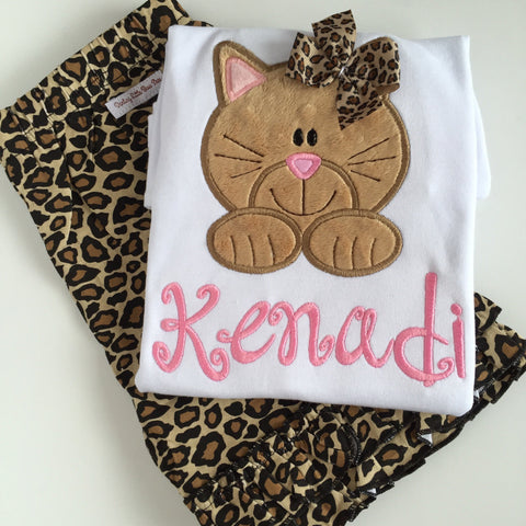 Kitten shirt for girls - Kitty cat shirt or bodysuit - sweet kitty shirt in tan and pink, leopard print bow - color changes welcomed - Darling Little Bow Shop