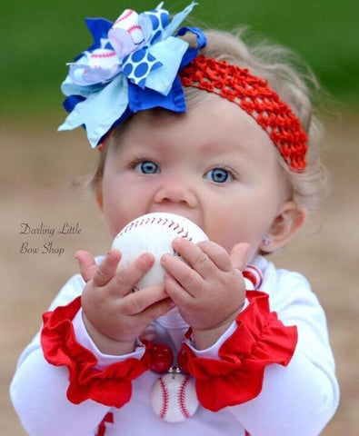 Baseball bow for girls - baseball theme in your team colors - Darling Little Bow Shop