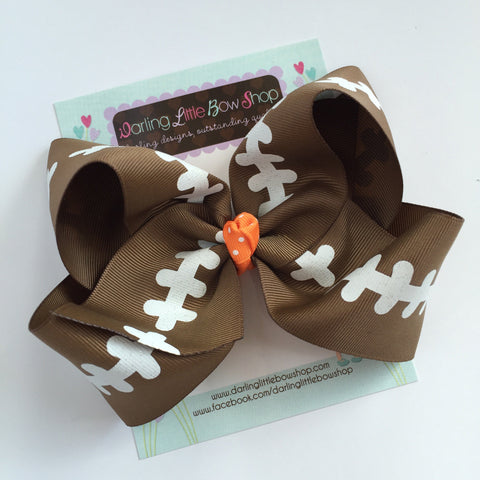 "Football bow, football hairbow -- choose your team color for center, 4-5"" or 6-7"" or 8"" bow - Darling Little Bow Shop"