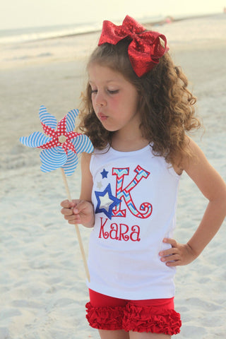 Stars and {Chevron} Stripes 4th of July Shirt for girls - Darling Little Bow Shop