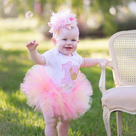 Pink and Gold First Birthday Tutu Outfit -- Miss Mouse pink and gold -- bodysuit, leg warmers, tutu, Over The Top bow in pink and gold - Darling Little Bow Shop