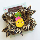 Pineapple Bow -- large bow in leopard print with pineapple center - Darling Little Bow Shop