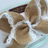 "Burlap Bow -- burlap and lace large 6-7"" bow - Darling Little Bow Shop"