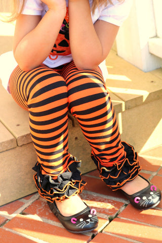 LIMITED Halloween Ruffle Leggings - BOO! - knit ruffle leggings in orange and black - comfy knit ruffle pants size Newborn to 10 - Darling Little Bow Shop