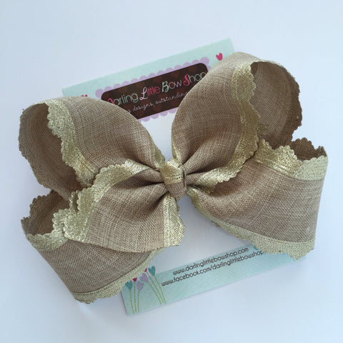 "Burlap Bow, burlap and gold large 6"" bow, burlap look perfect for Well Dressed Wolf Joy, A King Is Born - Darling Little Bow Shop"