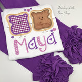 Peanut Butter Jelly hairbow -- We go Together Like PB and Jelly - Darling Little Bow Shop