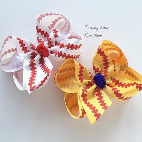 Baseball bow, Softball bow, Baseball hairbow - choose your team color for cente - Darling Little Bow Shop