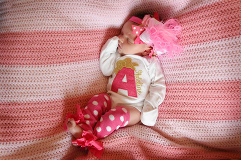 Newborn Take Home Outfit in hot pink and gold - Darling Little Bow Shop