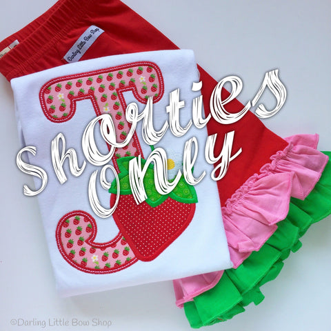 Strawberry Ruffle Shorties, Strawberry Festival Shorties -red, pink and green knit ruffle shorties sizes 6m to girls 10 - Darling Little Bow Shop