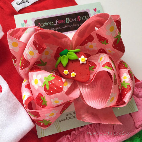 Strawberry Bow, Strawberry Hairbow with headband option - Darling Little Bow Shop