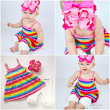 Rainbow tank Dress, Summer Dress for girls, soft knit dress sizes 6m to girls 8 - Darling Little Bow Shop