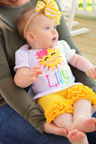 Sunshine Shirt or bodysuit for girls, Sun Shirt - Darling Little Bow Shop