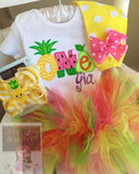 Tutti Frutti Birthday Outfit, Pineapple Birthday Outfit, Tutti Frutti Party -- top, tutu, leg warmers and bow/headband - Darling Little Bow Shop