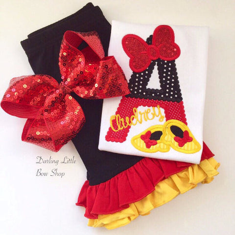 Miss Mouse shirt, tank or bodysuit for girls - Minnie Shoes - Darling Little Bow Shop