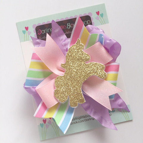 Unicorn Bow, Pastel rainbow ribbons with golden unicorn center - Darling Little Bow Shop