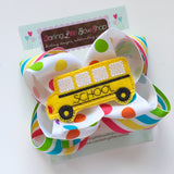 "School Bus bow - fun 5"" rainbow double stacked bow with school bus center - Darling Little Bow Shop"