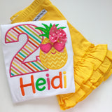 Pineapple Birthday Shirt or bodysuit for girls, Pineapple Shirt - Tutti Frutti - beautiful pineapple theme birthday shirt - Darling Little Bow Shop