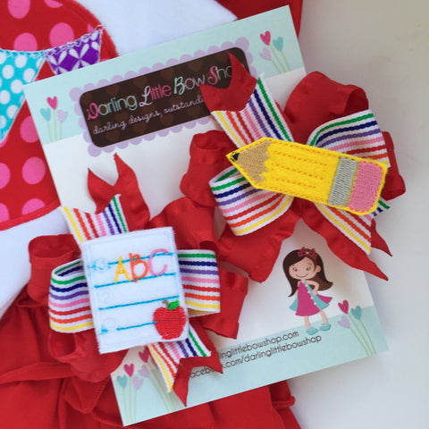 Back to School Pigtail Bows - Pencil N Paper - sweet piggies set with red ruffle and rainbow ribbons - perfect for kindergarten or preschool - Darling Little Bow Shop
