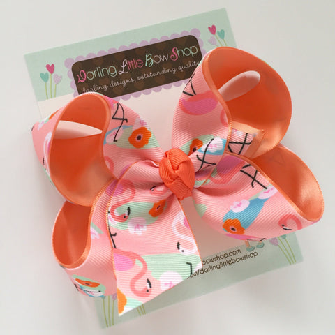 "Flamingo hairbow in peach, coral, pink and mint choose 4-5"" or 6"" bow - Darling Little Bow Shop"
