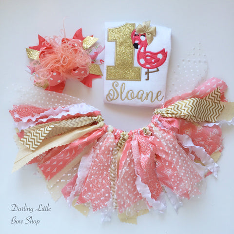 Flamingo Tutu Outfit -- Coral and Gold Flamingo Birthday Outfit - Darling Little Bow Shop